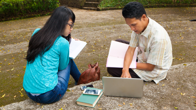 Indonesian students learning in the park.